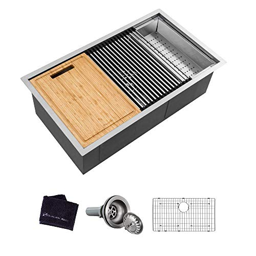 Glacier Bay All-in-One Undermount Stainless Steel 32 in. Single Bowl Kitchen Workstation Sink with...