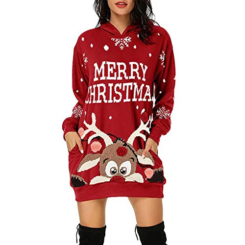 Lazzboy Store Abendkleider Lang Frauen Weihnachten Elch Hoodie Bag Hip Pocket Print Modekleid Damen Langarm Sweatshirt Hoodies Casual Herbst Kleid (Rot,L)
