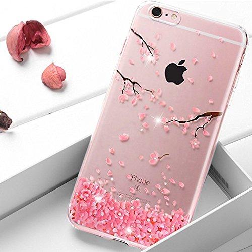 EMAXELERS Funda iPhone 7 Plus, Ligera Silicona Suave TPU Gel Bumper Cover de Protección Antideslizante [Anti-Rasguño] Caso para iPhone 8 Plus 5.5 Inch,Cherry Blossoms