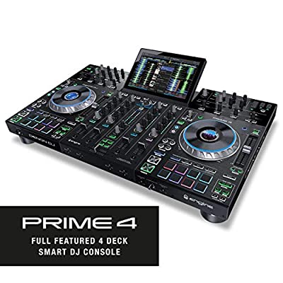 Denon DJ Prime 4 – 4 Deck Standalone DJ System/ Serato DJ Controller, Built In 4 Channel Digital Mixer and 10-Inch Touchscreen by inMusic Brands