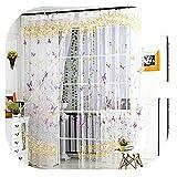 Vorhang,Schmetterling Muster Transparenter Tüll Vorhang,Gardine Tüll Valance,Frischer Stil Transparent Vorhänge,für Wohnzimmer Schlafzimmer,78.74 * 39.37zoll,1 Stück (A)