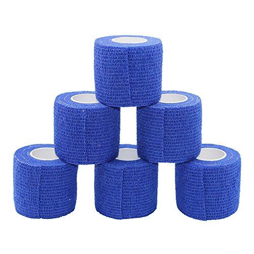 Fuluning garza elastica bendaggio adesivo rotolo di nastro flessibile in tessuto non tessuto bendaggio coesivo Athletic 5 cm confezione da 6 rotoli di nastro blu scuro