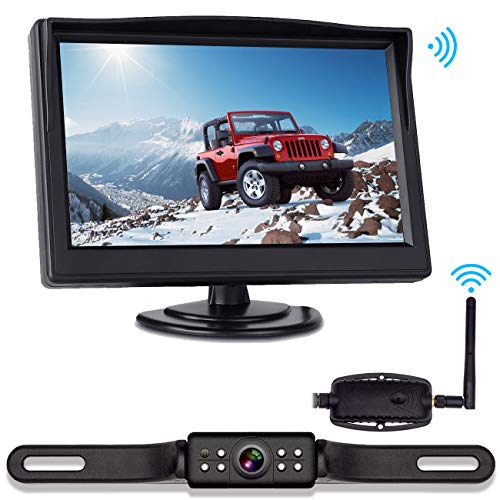 VISKOO, Digital Wireless Backup Camera and 5 inch Monitor Kit for Truck/Car/RV/Tailor Very Strong Digital Signal Transmitter IP68 Super Night Vision Rear View Camera
