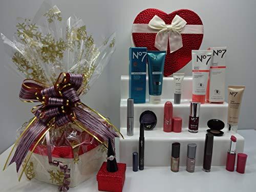 No7 Coffret cadeau 6 pièces Glam - Rouge à lèvres - Ombre à paupières - Vernis à ongles - Eyeliner - Palette de fard à paupières - Liquid Eyeliner - Coffret cadeau emballé