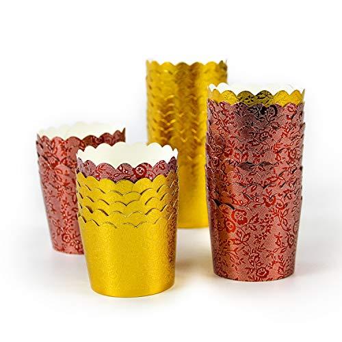 Dream DIY マフィンカップ 100枚 厚手 ケーキ型 ベーキングカップ 紙製ケーキカップ DIY 製菓用品 耐熱 防水(2色セット2)