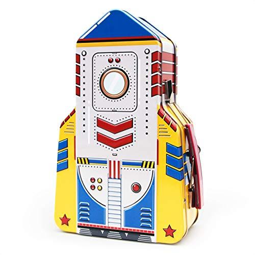 SUCK UK Contenedores de almacenamiento de juguetes Rocket Kids | Cajas de almuerzo espaciales para niños y adultos | Lata, metal, multicolor, talla única