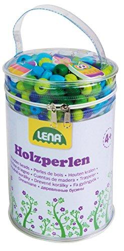 Lena 32003 Bastelset Holzperlen mit 400 Fädelperlen, 5 Anhänger und 6 Schnüre, Holzfädelperlen Set für Kinder ab 4 Jahre, Perlen zum selber Basteln von Schmuckketten, Perlenschmuck aus Holz, blau