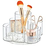 mDesign Spinning Lazy Susan Makeup Turntable Storage Center - 9 Sections - Rotating Organizer for Bathroom Vanity Counter Tops, Dressing Tables, Cosmetic Stations, Dressers - Clear