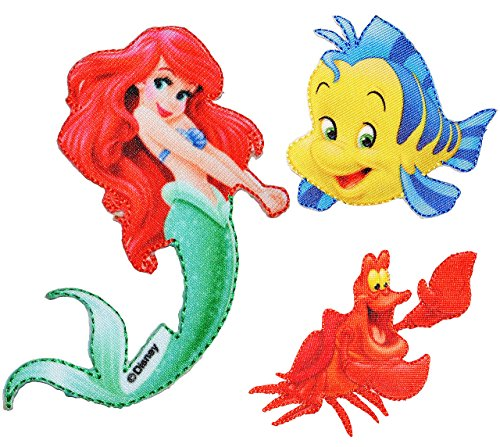 alles-meine.de GmbH 3 TLG. Set: Bügelbilder -  Disney - Arielle die Meerjungfrau & Krabbe Sebastian & Fisch Fabius  - Aufnäher Applikation - Fische / Krabben - Krebs - gewebter..