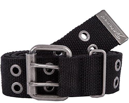 2Stoned Nietengürtel Stoffgürtel 4cm mit Dornschließe in Schwarz 125 cm lang für Damen und Herren