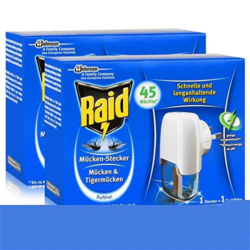 2x Raid Mücken Stecker inkl. Nachfüller für ca. 45 Nächte Mückenfrei