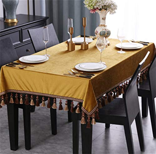 XQLSRJ Elegant And Luxurious Luxury Small/Big Square Tablecloth Cover Noble Solid Velvet Quality Rectangular Elegant Tablecloths Dustcloth Tablecloth Tassel Tapete