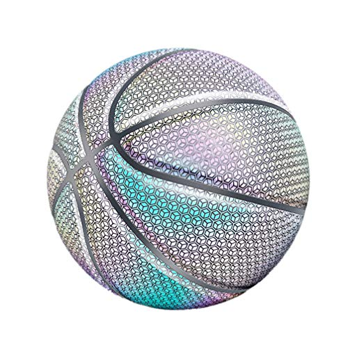 Find Bargain BESPORTBLE Holographic Glowing Reflective Basketball Luminous Basket Ball Smooth Slip G...