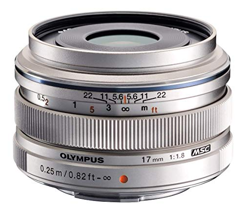 Olympus M.Zuiko Digital 17mm F1.8 Objektiv, lichtstarke Festbrennweite, geeignet für alle MFT-Kameras (Olympus OM-D & PEN Modelle, Panasonic G-Serie), silber