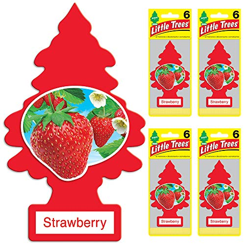 Little Trees - U6P-60312-AMA LITTLE TREES Car Air Freshener - Hanging Tree Provides Long Lasting Scent for Auto or Home - Strawberry, 24 count, (4) 6-packs