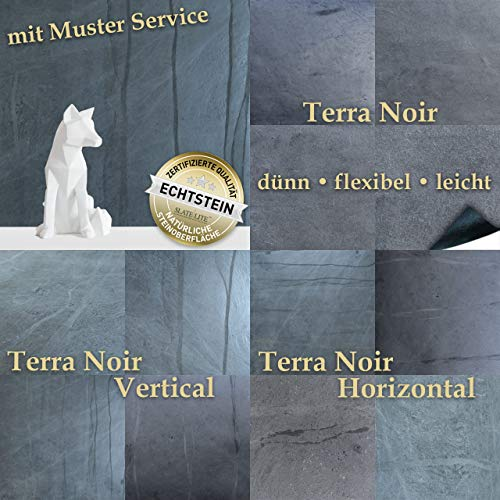 SLATE-LITE Wandverkleidung aus Naturstein - dünn, flexibel, leicht - 122 x 61 cm Wandpaneel Schieferplatte in Terra Noir Horizontal