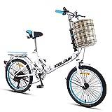DODOBD Bicicleta Plegable de Aluminio de 20 Pulgadas, Cambio de 6 Velocidades con Piñón Libre para Exterior, Sin Herramientas, Fácil de Transportar, Unisex Adulto
