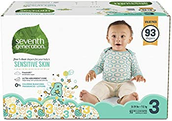 93-Count Seventh Generation Baby Diapers for Sensitive Skin, Size 3