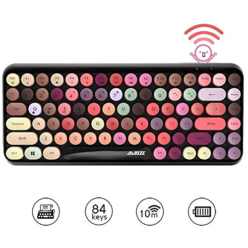Multi-Device Wireless Bluetooth Keyboard,Mini 84-Key Retro Round Keycaps Wireless Bluetooth Keyboard, Ergonomic Design Compatible with PC, Computer, Laptop
