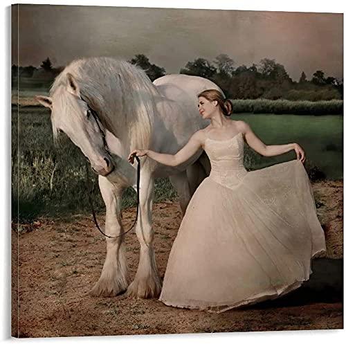 JSYEOP Póster vintage de niña en un vestido blanco apoyado en el caballo, cuadro decorativo lienzo para pared, póster de sala de estar, dormitorio de 40 x 50 cm