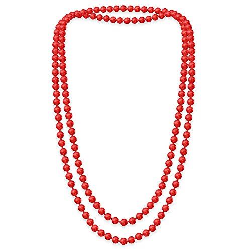 SoulCats Eine süße Kette Perlenkette Perlen viele Farben XXL lang pink blau Creme, Farbe:rot;Kettenlänge:148 cm