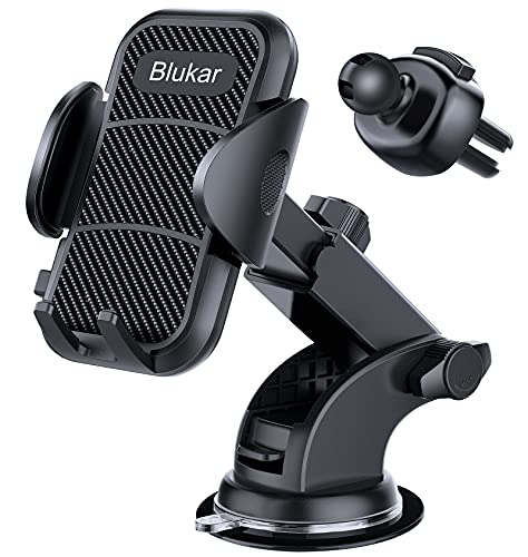 Blukar Car Phone Holder, Universal Car Phone Mount Cradle - 3 in 1 Super Stable for Car Dashboard/Windscreen/Air Vent - One Button Release and 360° Rotation for All 4.7 to 6.5 inch Smartphones