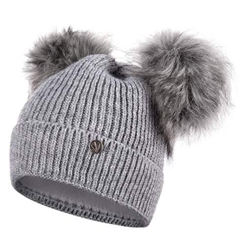 HEYO Damen Wintermütze mit Fleece gefüttert | Winter Mütze Pom Pom | Warme Strickmütze Zwei Bommeln | Bommelmütze mit Katzenohren H18570 (Hellgrau)