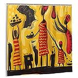 Bestpillow Set de Cortinas de baño para decoración de baño,Arte Abstracto Africano,Safari de África,Cortinas de baño de Tela Tribal Life con Ganchos 150 cm x 180 cm