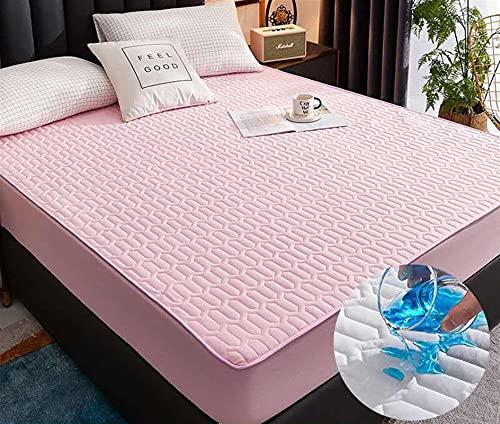 GZGLZDQ Protector De Colchón Acolchado Tamaño King Size Impermeable Cómodo Color Sólido Protector De Colchón Cubierta De Colchón De Terciopelo De Cristal (Color : Pink, Tamaño : 180x200cm)