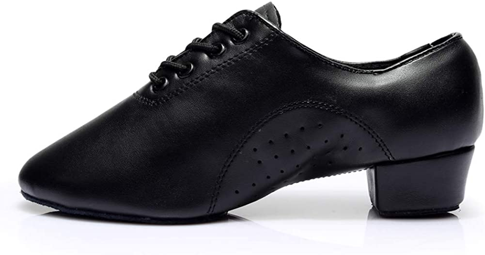 HROYL Little Boy/Big Kids/Men Dance Shoes Leather lace-up Ballroom Shoes for Latin Tango Salsa Dance Performence Shoes Z-238