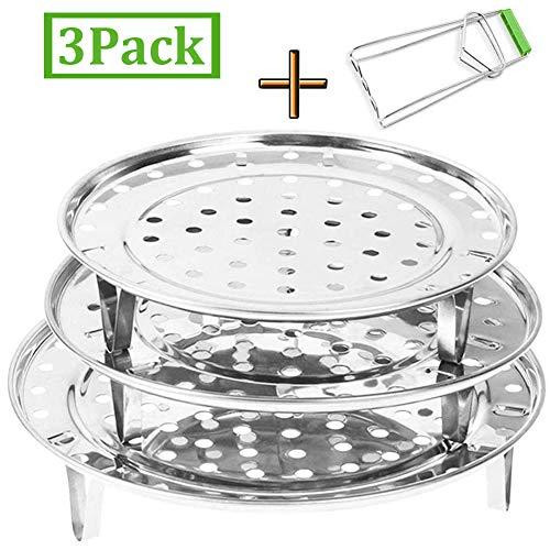 """INTVN Edelstahl Dampfgarer Dünsteinsatz (7.1"""" 8.7"""" 9.4"""" Inches) Dämpfeinsatz für Kochtöpfe Chinese Steaming Rack (3er Pack mit Clip)"""