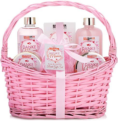 BRUBAKER Cosmetics - Gracias Mamá Set Baño y Ducha del Día de la Madres - Rosa Vainilla - Caja de Regalo en Cesto Vintage - 7 Piezas