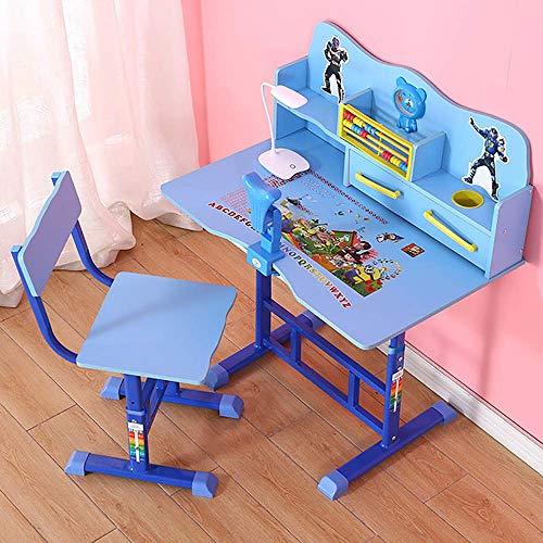 FEEE-ZC Set di sedie da scrivania per Bambini, scrivania da Studio Regolabile per Bambini, scrivania Multifunzione e Set di sedie, scrivania per Studenti con Lampada e Supporto per Libri, Blu