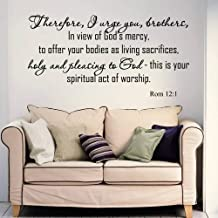 VSGraphics LLC Wall Decals Quotes Bible Verse Psalm Romans 12:1 Therefore I Urge Lord God Quote Vinyl Sticker Living Room ...
