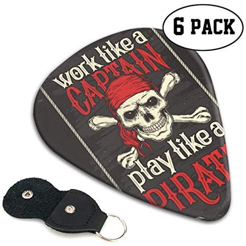 Play Like Pirate Red Bandana Jolly Roger Flag Gitar Picks Gitar Pick Holder 6 Pack Heavy, Electric Acoustic GitarsT