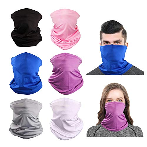 Cooling Neck Gaiter Bandana Face Mask Scarf Neckerchief Headwear for Dust Outdoors Cycling Women Men Multipack Summer (Multicoloured)