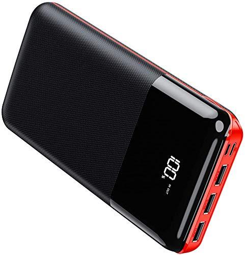 Gnceei Powerbank 25000mAh, Höhe Kapazität Externer Akku mit 3 USB Ausgängen und 2 Eingängen, Externes Ladegerät mit LCD-Digitalanzeige für Smartphones und Tablettes