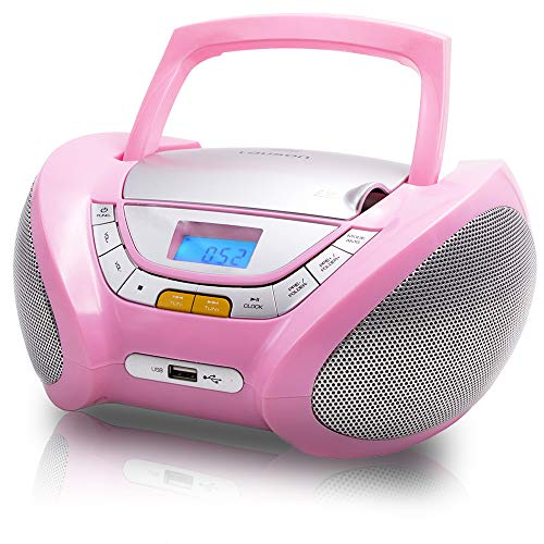 Lauson CD Boombox Pink Cd Player FM-Radio | USB & MP3 | CD Player Portable for Kids | Cd-Players for Home Stereo with USB | Headphone Jack (3.5mm) CP548 (Pink)