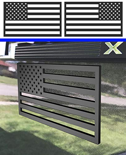 """3D American Flag Emblem Decal Cut-Out,Thickness 3 mm,for Car, Truck or SUV ,5""""x3""""(Matte Black 1 Pair)"""
