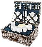 BEM - Cesta de picnic - Cesta de mimbre - Vajilla de camping para 6 personas - Cesta de picnic niños 6 personas - con bolsa de frío - Juego de picnic para camping al aire libre