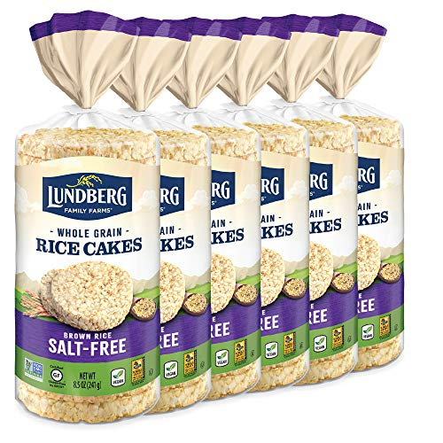 Lundberg Brown Rice Cakes, Salt-Free, Gluten-Free, Vegan, Whole Grain, Kosher, Non-GMO Verified Eco-Farmed Salt Free, 51 Ounce