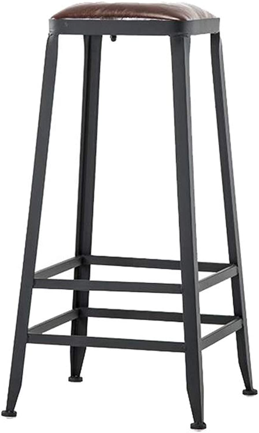 High Stool Barstool Iron Breakfast Dining Stool for Kitchen Bar Counter Home Commercial Chair with PU Cushion LOFT Industrial Retro Style (Size   Height 80cm)