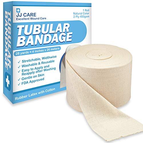 """JJ CARE Elastic Tubular Bandage 4"""" x 28 Yards, Cotton Stockinette Size F, Tubular Stockinette for Legs and Knees, 2 Ply Cotton Elastic Bandage Wrap, Tubular Compression Bandage by JJ CARE"""