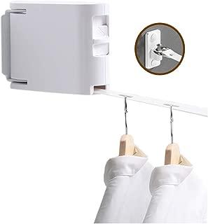 室内物干しワイヤー バルコニー縮小物干し、屋内パンチフリー洗濯物見えない縮小物干し壁掛け伸縮式物干し安全で使いやすい (白)