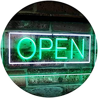 ADVPRO Open Shop Display Rectangle Dual Color LED Neon Sign White & Green 16