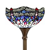 Tiffany Floor Lamp Torchiere Up Lighting W12H66 Inch Blue Stained Glass Crystal Bead Dragonfly Lampshade Antique Standing Iron Base 1E26 Foot Switch S004 WERFACTORY Living Room Bedroom Home Decoration