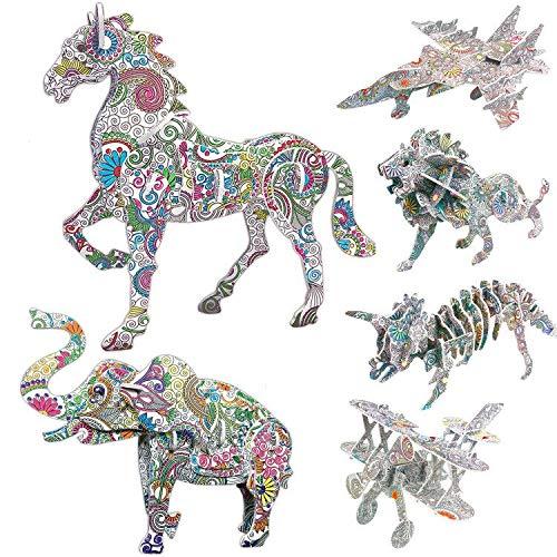 3D Puzzle Kunst, AivaToba 3D Color Puzzle 4 Tieren Puzzles 2 Spielzeug Jigsaw mit 12 Stiftmarkierungen DIY 3D Bastelset Puzzle Painting für Kinder Teen Erwachsene 6 Pack