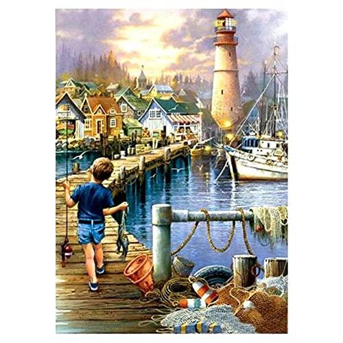 Taladro cuadrado completo 5D Diy pesca niño chico torre paisaje 'bordado punto de cruz faro decoración regalos pintura de diamante 50 * 70Cm