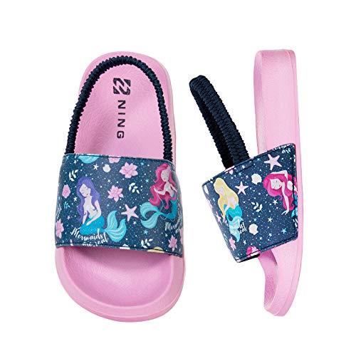 WateLves Kinder Badelatschen Badeschlappen Sommer Flache Hausschuhe Jungen Mädchen rutschfest Dusch Badeschuhe Kinder Pantoletten (Meerjungfrau-Pink, 28/29EU)