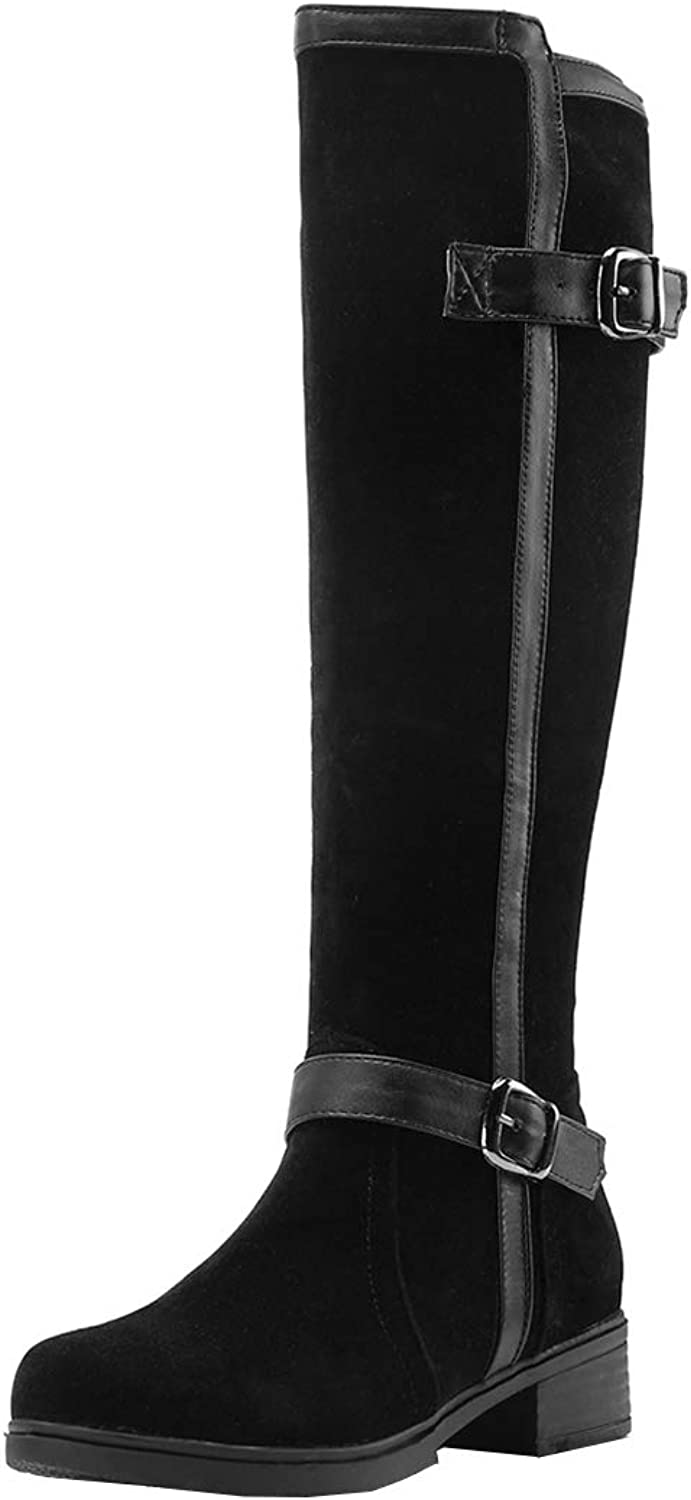 Vitalo Womens Low Heel Knee High Motorcycle Riding Boots Winter Zip Up Boots